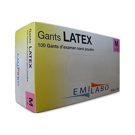 GANTS D'EXAMEN LATEX T7/8 SANS POUDRE