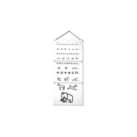 Test d'acuité visuelle à 5 mètres pour enfant.