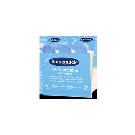 Recharge de pansements bleus détectables Salvequick 6735CAP  1 X Recharge de 35 pansements détectables
