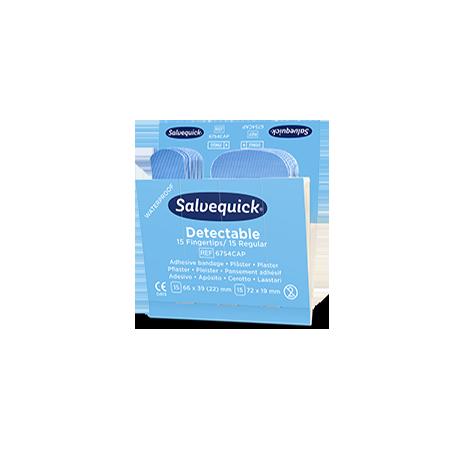 Recharge de pansements bout de doigt bleus détectables Salvequick 6754CAP  1 X Recharge de 35 pansements détectables